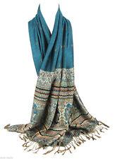 New Fashion Women's Vintage Soft Pashmina Cashmere Blue Scarf Wrap Shawl Stole