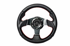 280mm JDM Steering Wheel Black PVC Carbon Fiber Look Red Stitching Honda Emblem