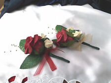 Burgundy /Peach/Gold Bead Spray   Buttonhole - Wedding  Flowers - by Valerie J