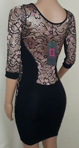 BNWT backless black pink lace sheer 3/4 sleeve bodycon cut out mini dress 8 sexy