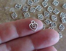 24 Mini Swirl Heart Charms Tiny Love Hearts Valentine Ships Free 10x7mm Charm
