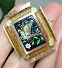 Victorian Antique Micro Mosaic Bird & Flowers Brooch pin... No missing tiles :)