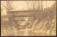 Real Photo Postcard RPPC Petersburg NY Old Red Covered Bridge Rensselaer County