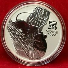 2020 1 oz Silver Lunar Year of The Mouse / Rat BU Australian Perth Mint w/Cap