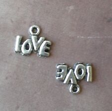 50 LOVE Bubble Letters Word Charm Tibetan Silver Charms for Jewelry Making Craft