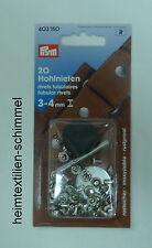 PRYM 20 Hohlnieten Nieten Hohlniete 3-4mm silber 403150