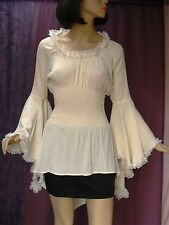 Eternal Love L Gypsy Pirate Renaissance Corset Blouse Tunic Lace Ivory Cosplay