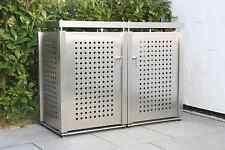 Edelstahl Mülltonnenbox für zwei 240-Liter Tonnen, NEU, Mülltonnenumrandung
