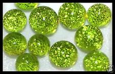 Lot of 6 XS TWINKLE LIME Fused Glass DICHROIC Cabochons NO HOLE Beads Flat Back
