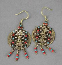 Nepal Tibetan Handmade Round Earrings Turquoise & Carnelian Beads USA SELLER