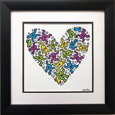"Keith Haring ""Untitled, 1985""  Heart CUSTOM FRAMED Pop Art Plate Signed Love"