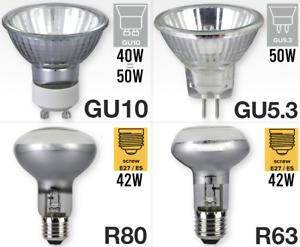 Halogen R63 E27 240v Spot Bulb GU10 MR16 GU5.3 12v Downlight  PACKS OF 24 TO 144
