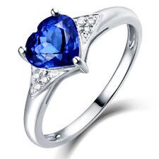 New Design 14kt White Gold Diamonds Wedding Heart Shape 7mm Tanzanite Rings