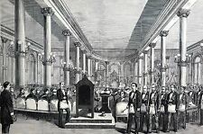 Masonic Temple 1875 GRAND LODGE Masons Dedication Ceremony NYC Print Matted