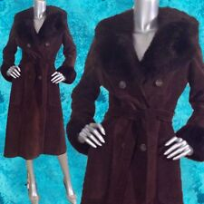 Vintage 70S Brown Suede Coat Faux Fur Collar & Cuffs Belted Hippie Boho S-M