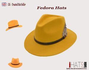 iHATSLondon Unisex Fedora Hat Long Brim Supreme Quality Felt Indiana Jones (UK)