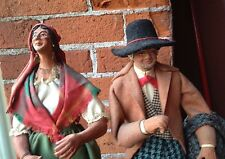 French Dolls Devouassoux Realistic Gypsy Woman & Man Figurines Statues Signed