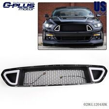 Front Upper Grill Mesh Grille w/ DRL LED Light For 2015 2016 2017 Ford Mustang