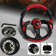 For 1996-2000 Honda Civic 320MM Red/Black PVC Leather Type-B Steering Wheel+HUB