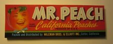 Wholesale Lot of 100 Old Vintage MR. PEACH California Peach LABELS - Cutler CA.