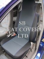 TO FIT A FORD KUGA CAR, SEAT COVERS, CHARCOAL EBONY + BLUE PIPING