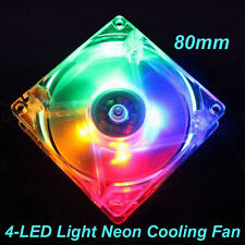 80mm Quad 4-LED Neon Gaming PC Cooler Computer Case Cooling Fan 4Pins 12V Quiet