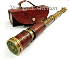 Lot of 5 Antique Maritime Brass Leather Engraved Telescope Spyglass with Cover