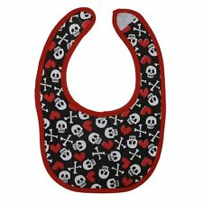 Metallimonsters Red skull crossbones bib alternative goth punk rock metal baby