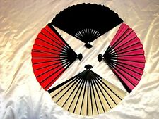 4 JAPANESE RED BLACK CREAM PINK HAND FAN FANCY DANCE CHINESE WEDDING PARTY