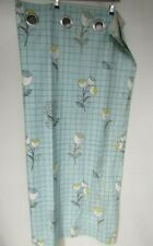 """Next Eyelet Duck Egg Blue Check Floral Modern Pair Of Curtains 53""""x54"""" 135x137cm"""