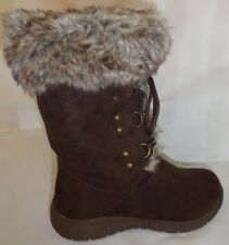 Brown Lace Up Suede & Faux Fur Women's Warm Cozy Winter Boots Size 8 Medium