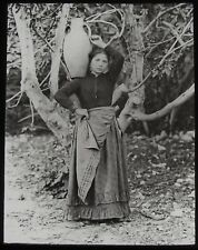 Glass Magic Lantern Slide WOMAN OF BIVONA C1890 OLD VICTORIAN PHOTO SICILY ITALY