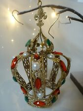 Gisela Graham Large Gold Metal Pearls & Jewelled Crown Christmas decoration 17cm