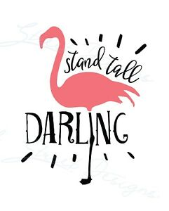 Stand Tall Darling With Flamingo - Beach Tropical Vinyl Decal Free Ship 704