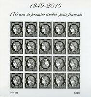 France 2019 MNH Black Ceres 1st Stamp 20v IMPF M/S Stamps-on-Stamps Stamps