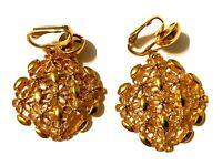 """Vintage Gold Tone Flower Pattern Dangle Clip On Earrings 1 3/4"""""""