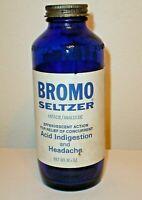 Vintage Bromo Seltzer 6 1/2 oz. Cobalt Blue Medicine Bottle w/ Paper Label & Cap