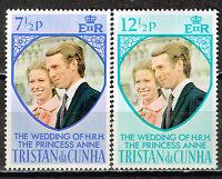 Tristan Da Cunha Islands Royal Wedding Princess Anne stamps 1963 MLH