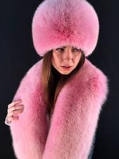 Arctic Fox Fur Collar and Full Hat 51' Inch. Stole Saga Furs Pink Fur Set