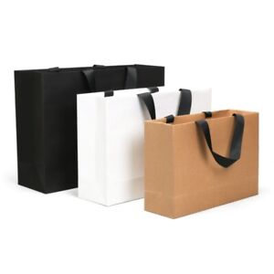 1 X Kraft Paper Packing Bag with Handle Shop Gift Wrapping Pouch Party Supplies