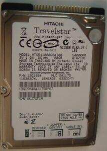 """HTS541080G9AT00 Hitachi 80GB IDE 2.5"""" 9.5MM Hard Drive Tested Our Drives Work"""