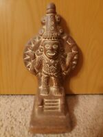 Vintage AZTEC WARRIOR GOD STATUE Sculpture Figurine Mayan Tribal RARE