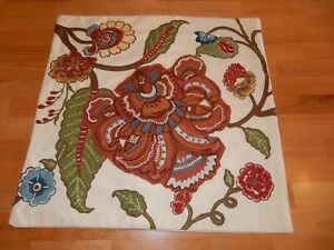 "POTTERY BARN Crewel Applique Floral Paisley Euro 20"" x 20"" Pillow Cover - GUC"