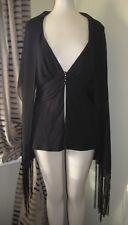 Frank Usher Top Jacket style size 12 black scarf detail