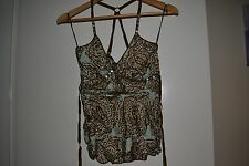 Ladies Next Green & Brown Silky Strap Top Size 8