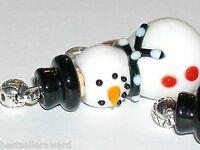 1pc Glass Christmas Snowman Lampwork oil perfume small little pendant BOTTLE BLK