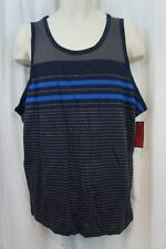 Alfani Mens Shirt Sz L Navy Blue Multi Striped Sleeveless Slim Fit Casual Shirt