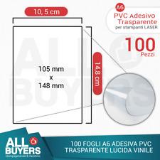 100 FOGLI A6 CARTA ADESIVA TRASPARENTE LUCIDA STICKER STAMPANTE LASER PVC VINILE