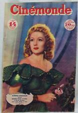 CINEMONDE MAGAZINE 4 MARCH 1947 VINTAGE FRENCH MOVIE FILM GUIDE - ANNIE DUCAUX