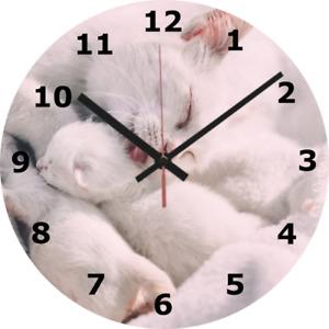 SILENT CLOCK CAT 25cm Kitten Mother Pet Sweet Home Decor Love Kid Animal 391